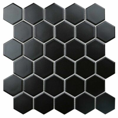 Черная плитка мозаика соты Mirmozaiki.Kz