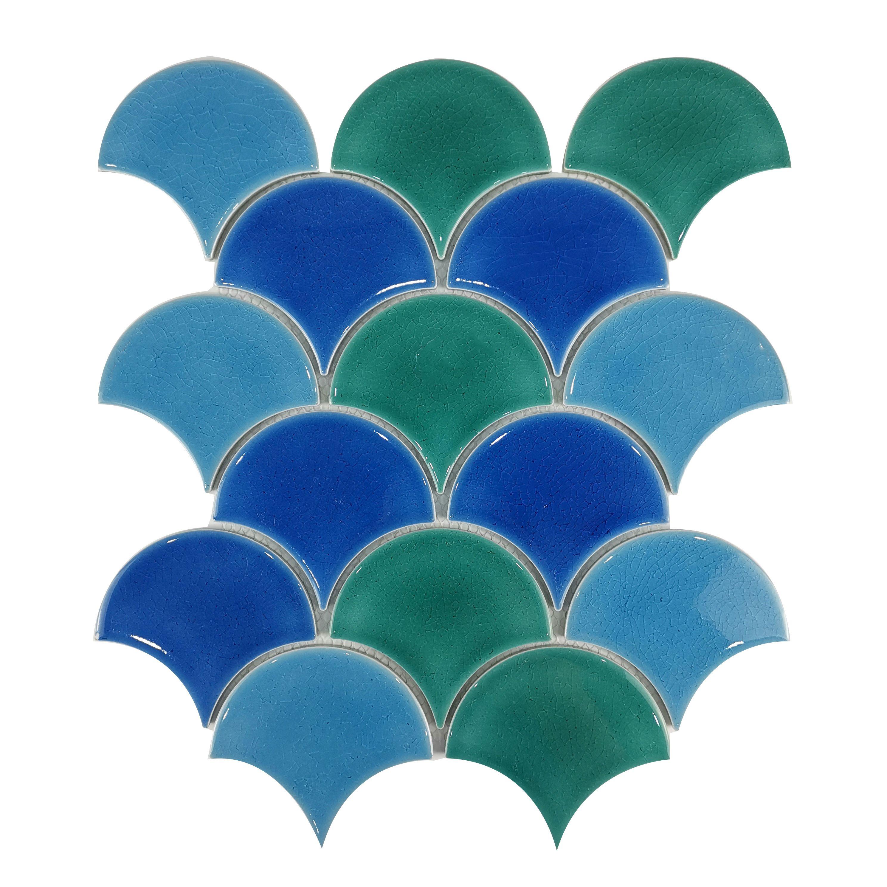Трехцветная бирюзовая плитка чешуя ХL8510