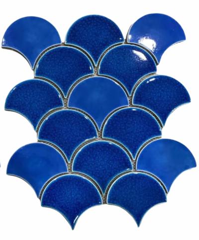 Мозаика - плитка из керамики Синяя керамическая плитка чешуя ХL9502