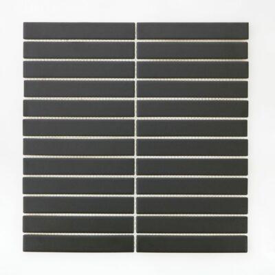 Мозаика - плитка из керамики Черная керамическая мозаика стрип 2207